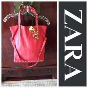 Zara Leather Studded Tote